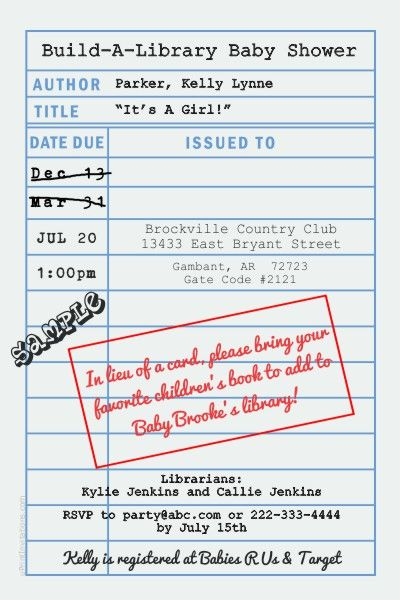 Library book baby shower invitations.  Design online, download and print immediately!