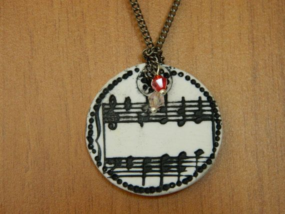 Necklace Melody from polymer clay with crystals. by EVAMARE