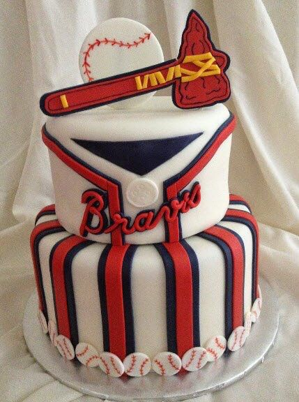 2-tier Atlanta Braves' cake.