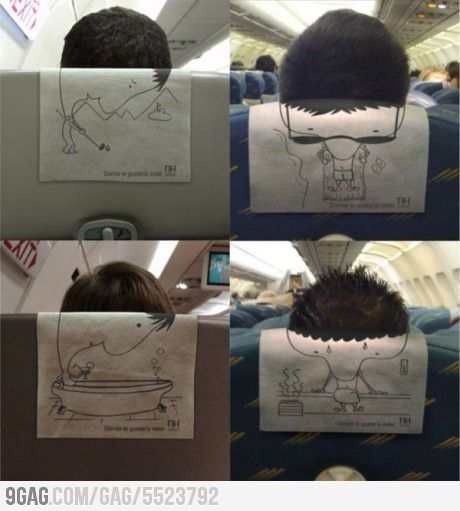 Guerrilla marketing on the plane