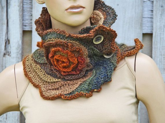 Unique scarf Crochet Scarf - Capelet / Neck Warmer Brown/ Green/ Orange/Chunky Knit - Freeform Crochet - one of a kind