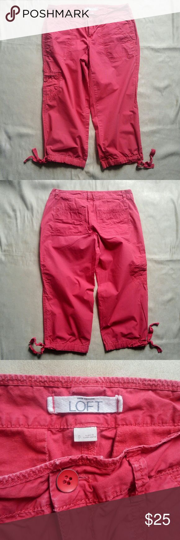 Ann Taylor Loft Coral Capri Pants Cute coral Capri pants. Drawstring at the bottom hens. Front, back and side pocket. Really cute button.   Size 0.  In great shape. No stains, rips or snags. LOFT Pants Capris