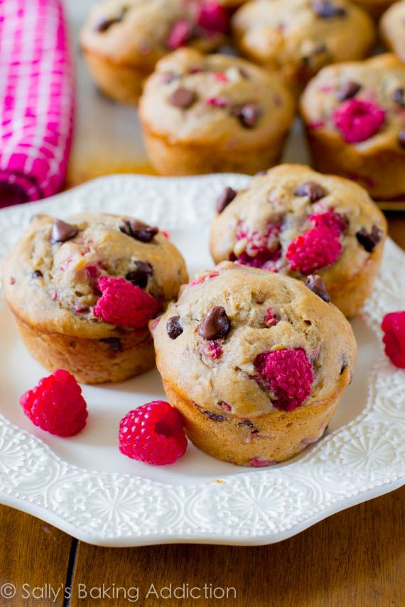 Skinny Raspberry Chocolate Chip Banana Muffins. These low fat, low sugar, whole wheat muffins are so flavorful! Made with bananas, yogurt, w...