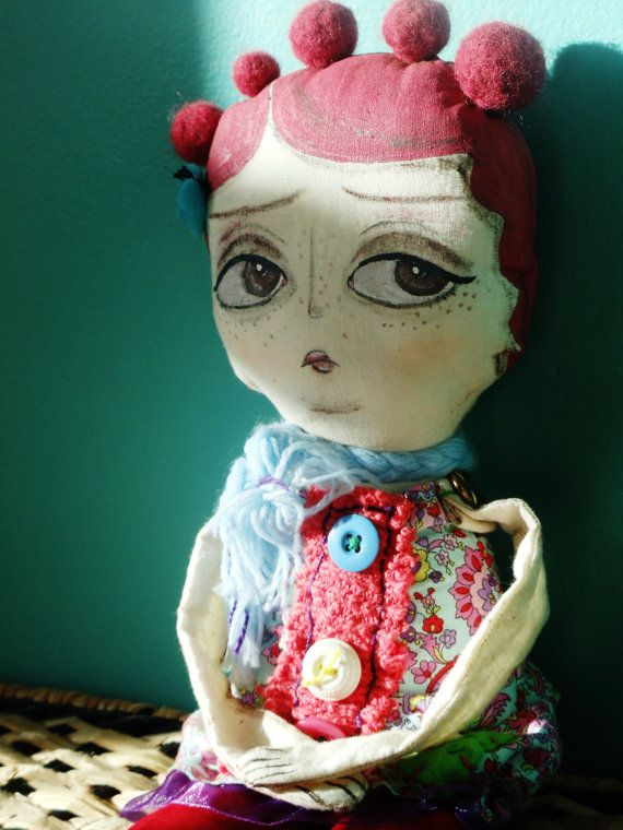 Toad Stool Girls Art Doll, Rag Doll, Cloth Doll, Hand Painted