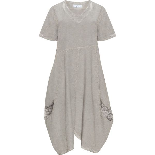INCA Taupe-Grey Plus Size Cotton dress (54 CAD) ❤ liked on Polyvore featuring dresses, plus size, cotton dress, a line dress, plus size dresses, plus size grey dress and plus size a line dresses