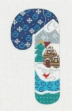 Danji Candy Cane Log Cabin w/ Snowflakes handpainted Needlepoint Canvas