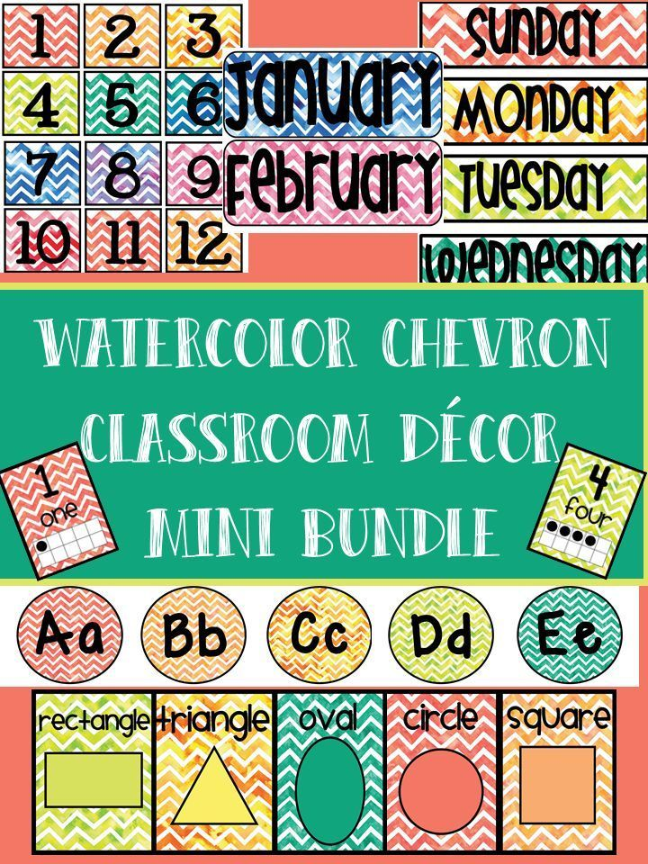 Classroom Decor- Watercolor Chevron! Alphabet, Number Posters, Shape Posters, Months, Days of Week, Calendar Numbers, and EDITABLE Daily Schedule Cards!