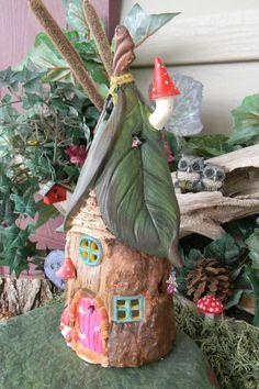 Gnome House Tree stump Leaf Roof Tree by EnchantdMushroomLand.