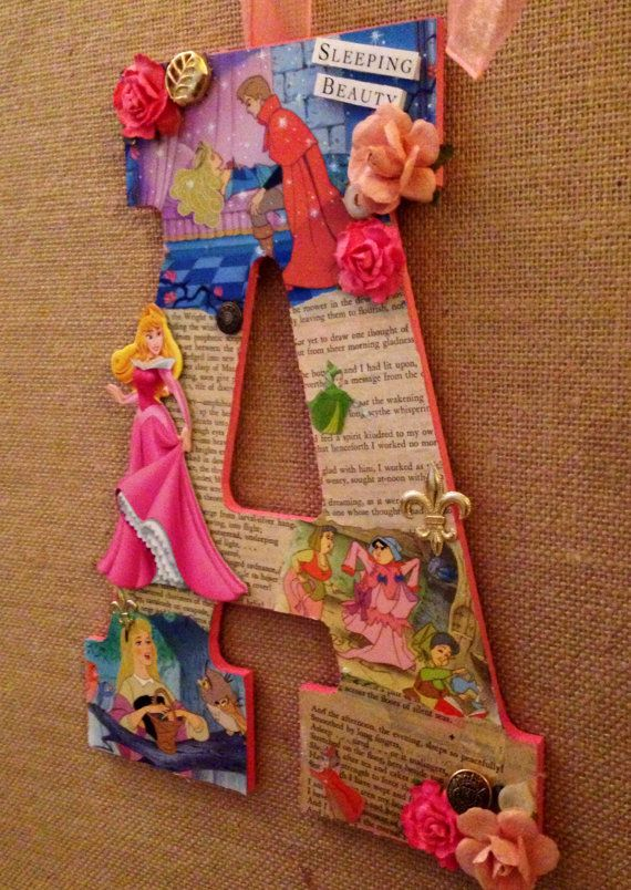 Any custom letter done in the style of Sleeping Beauty - Disney Wooden Letter - 11""