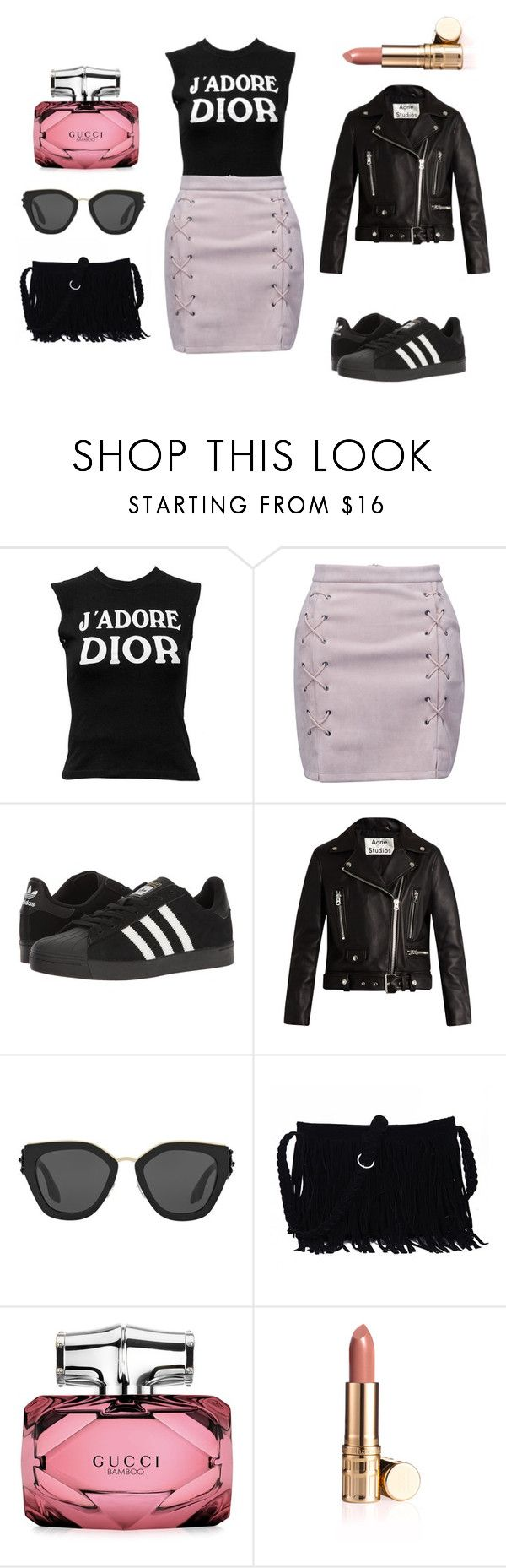 """J`adore"" by tovenilsen on Polyvore featuring Christian Dior, WithChic, adidas, Acne Studios, Prada and Gucci"
