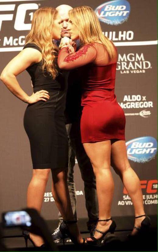 Ronda Rousey and Bethe Correia stare down.