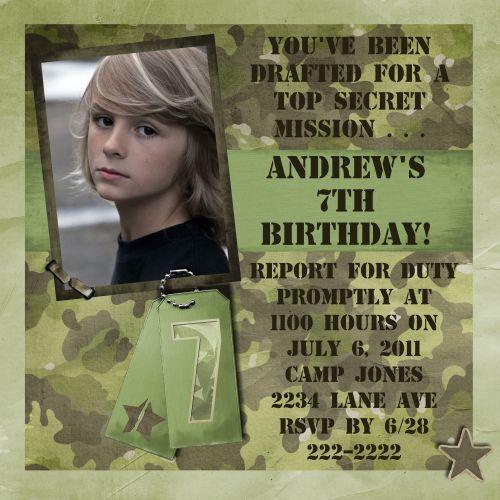 camo birthday invitations | new camouflage birthday invitations, Birthday invitations