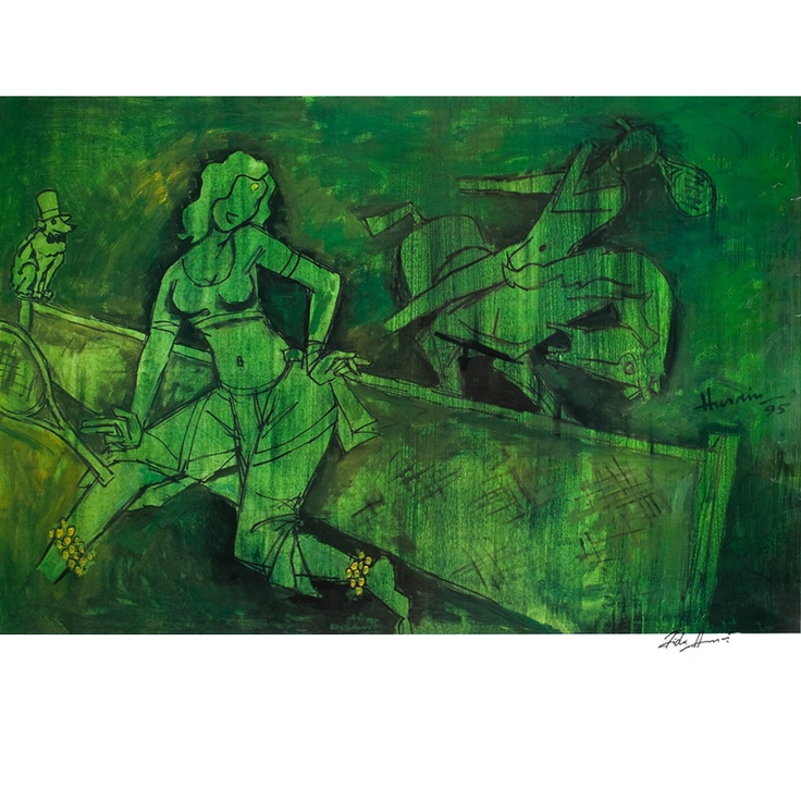 M.F. Hussain - Midnight Green at Wimbeldon available at www.bagittoday.com . Limited edition signed and numbered reproductions from the Fida series done by M F Hussain in the 1990's. This series which he signed as Maqbool 'Fida' Hussain were reproduced by Art Today and come to you in exquistively handmade frames in limited, framed editions. These were a series of works that he did for a show for the first time as an ode to the famous Bollywood actress Madhuri Dixit. www.bagittoday.com