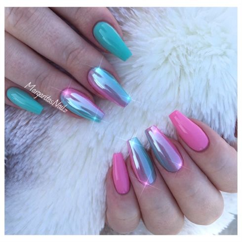Mint Green And Pink Chrome Ombré  by MargaritasNailz