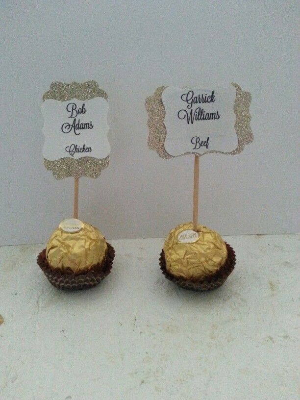 silver heart wedding place card holders%0A Ferrero Rocher wedding place cards  u     favors