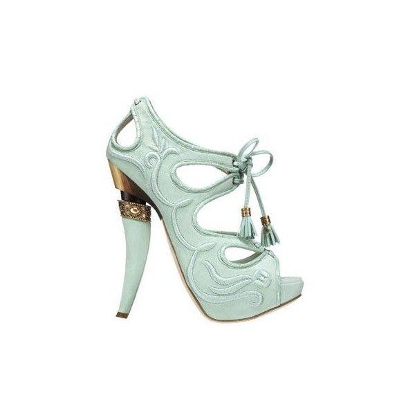 Sandali verde acqua stupendi!!! ❤ liked on Polyvore featuring shoes, heels, sapatos, scarpe and high heels