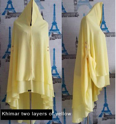 New Women's Long Jilbab Hijab KHIMAR Set Yellow Islamic Headwear - Other