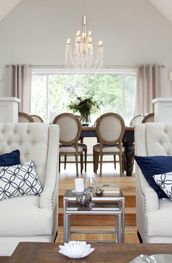 Home   Jillian Harris, Tufted Chair, White And Blue Room, Neutral Living  Room