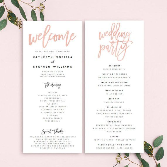 image about Printable Wedding Programs named Rose Gold Marriage ceremony Applications Templates, Printable Wedding ceremony