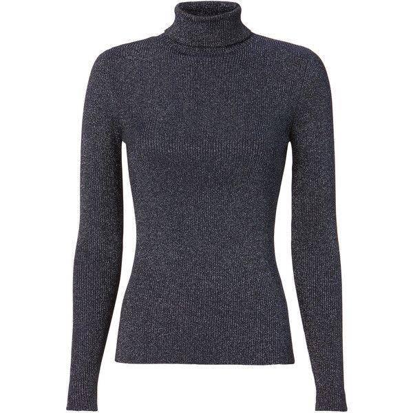 Lurex Knit Turtleneck (25 RUB) via Polyvore featuring tops, sweaters, blue knit sweater, lurex sweaters, knit turtleneck, lurex top и polo neck top