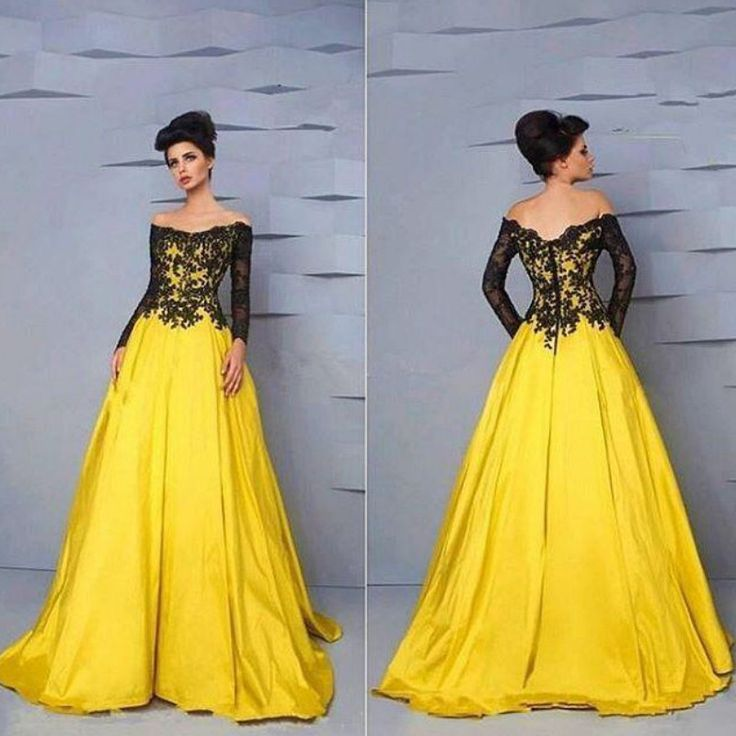 Find More Prom Dresses Information about Long Sleeves Black and Yellow Plus Size Prom Dresses 2016 Vestidos de madrina,High Quality dresses orange,China dress batwing sleeve Suppliers, Cheap dress up a black dress from Lulu Design on Aliexpress.com