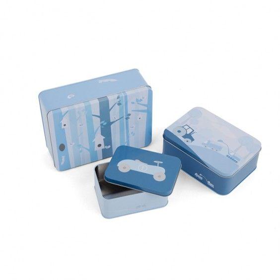 Tin box set, 3 pcs BLUE #matboks #storage #barnerom #interiør #oppbevaring