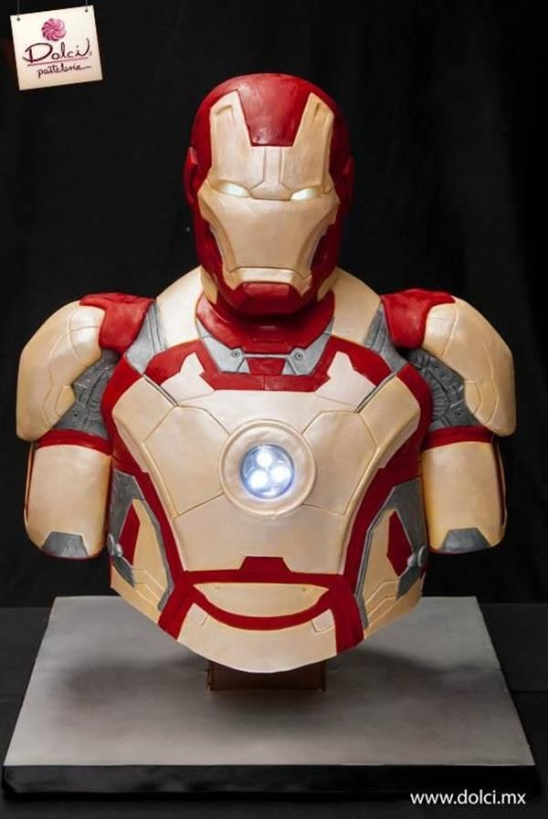 Iron Man Cake with a Glowing Arc Reactor