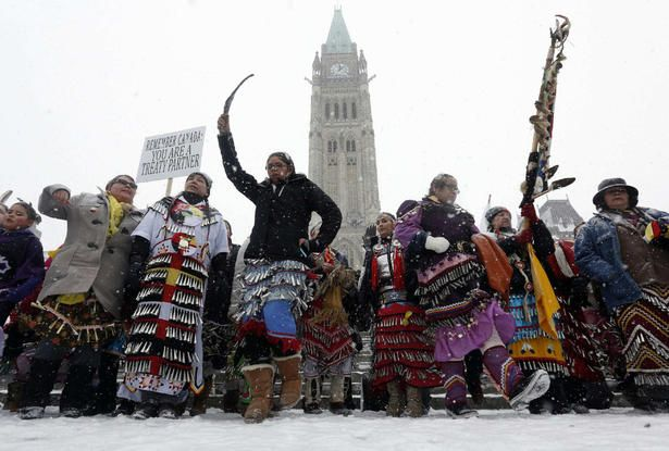 Protesters on Parliament Hill during the Idle No More National Day of Action on January 28, 2013.