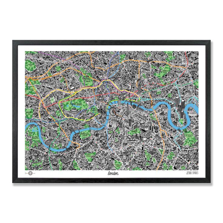 Hand Drawn London Map - Giclée Art Print by Jenni Sparks.