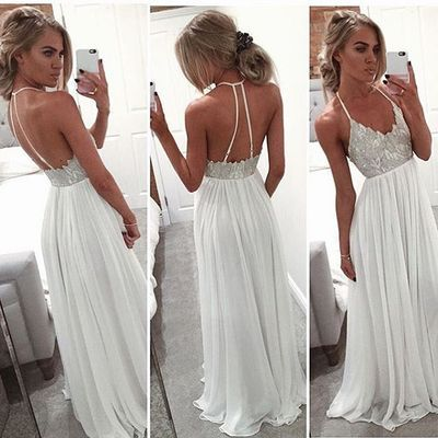 2016 Newest White Beaded Prom Dresses,Long Prom Dress,Spaghetti Straps Chiffon Evening Dresses