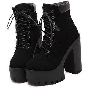 Black Chunky High Heel Hidden Platform Boots