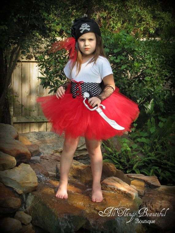 Pirate Girl Red Halloween Costume Pirate Costume Pirate Girl Outfit - with pink for pictures?