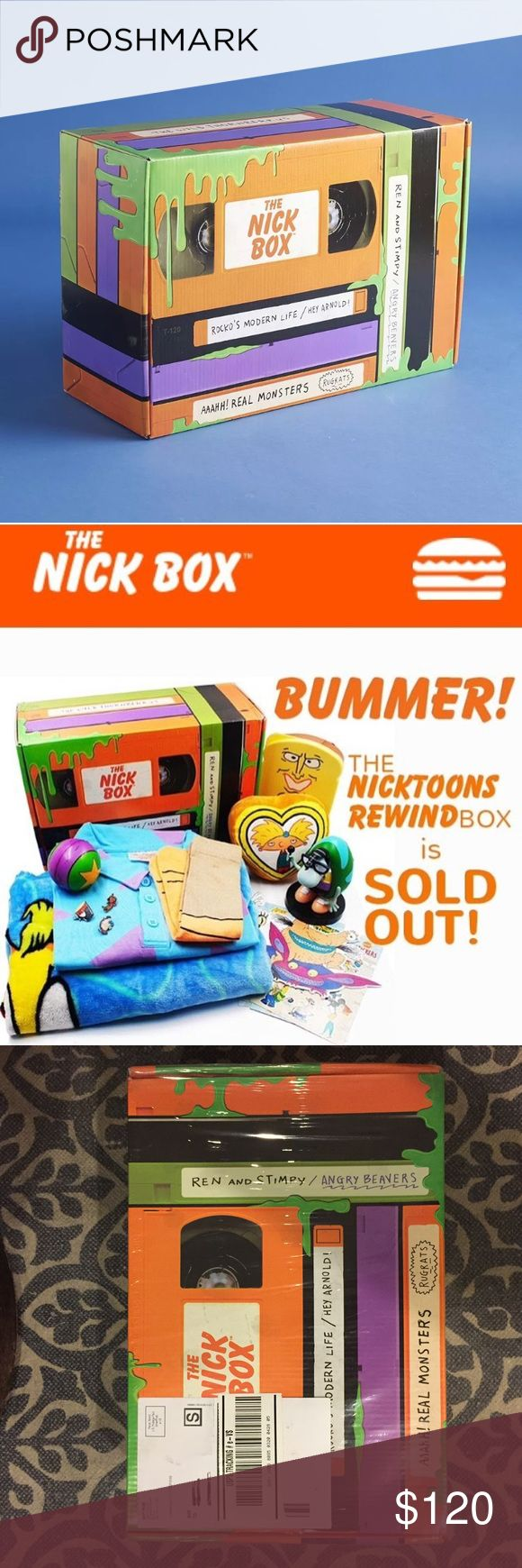 Nickelodeon Nick Box Spring 2017 Brand new, still in original shrink wrap sent by the manufacturer. Some damage done to box (see photos) when it was shipped to me.  •Powdered Toast Man Sandwich Container •Rocko's Modern Life Polo Shirt (size LARGE) •Rocko's Modern Life Socks •Rocko's Modern Life Blanket •Ren and Stimpy Enamel Pins •Aaah!!! Real Monsters Vinyl Decal •Filburt Vinyl Collectible •Rugrats Stress Ball •Hey Arnold Plush •CatDog Stickers •Angry Beaver Stickers •The Wild Thornberrys…