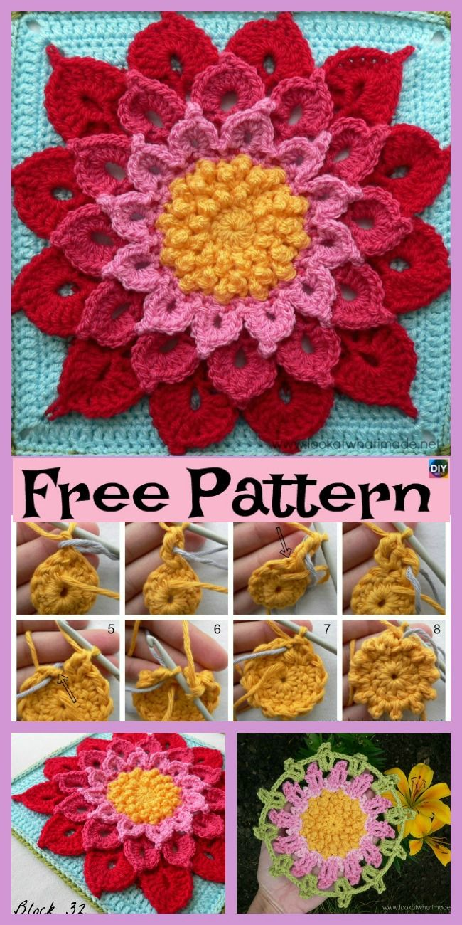 10 Beautiful Crochet Granny Squares - Free Patterns | Patrones ...