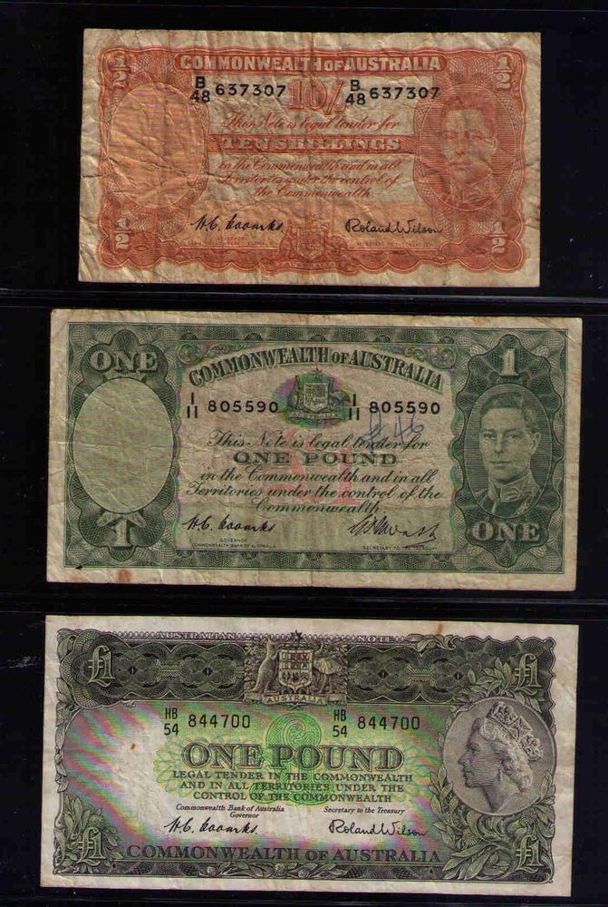NO RESERVE AUCTION: Commonwealth of Australia 3 COOMBS NOTES, 10/, 1 POUND, 1 P