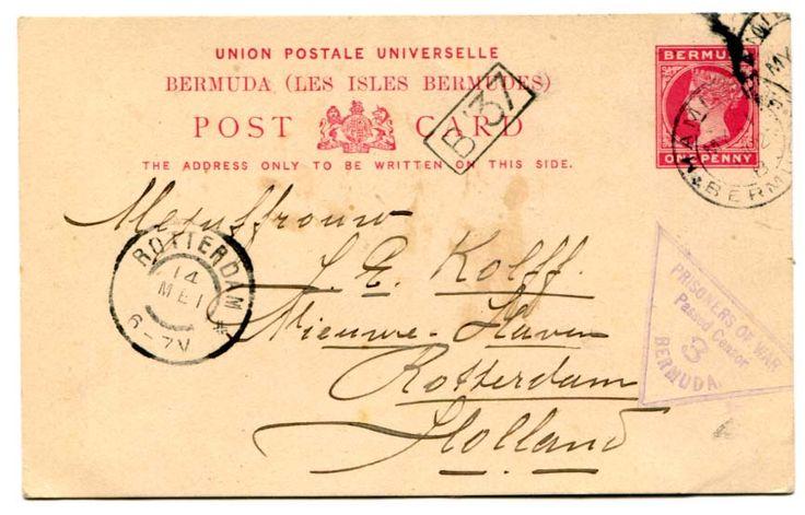 "BERMUDA (Boer war) 1902 1d  censored stationery postcard addressed to Holland headed Burtts Island cancelled ""HAMILTON"" c.d.s. MY 1 02 Very fine ""PRISONER OF WAR / Passed Censor / 3/ BERMUDA"" struck in violet."