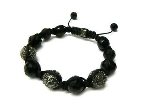 Black Shamballa 12mm Glass Beaded Macrame Bracelet with 3 Alternating Iced Out Disco Balls JOTW. $9.95. Great Quality Jewelry!. 100% Satisfaction Garunteed!. Unique adjustable pull string cobra stitched lanyard design.