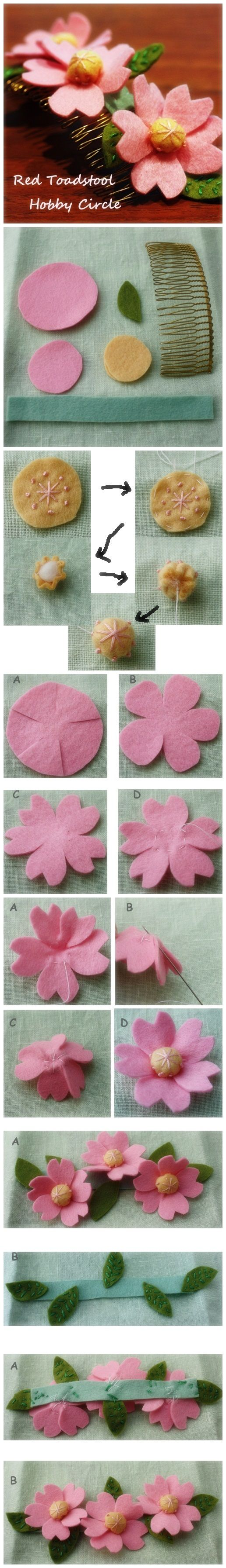 Felt Cherry Blossom Hair Comb | Welcome Craft