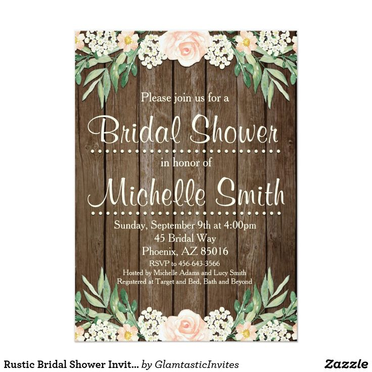 Rustic Country Chic BRIDAL SHOWER Floral Roses & Barn Wood Pretty Personalized Bridal Shower Invite Announcement Invitation Card  #bridalshower #rustic