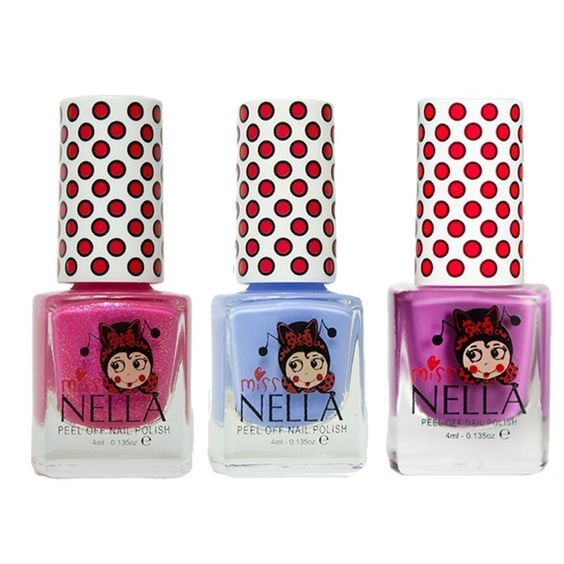 Miss Nella Little Poppet, Blue Bell, Tickle Me Pink Special Glitter Kids Nail Polish with Peel-off Water Based Formula - Pack of 3 -- Click on the image for additional details.