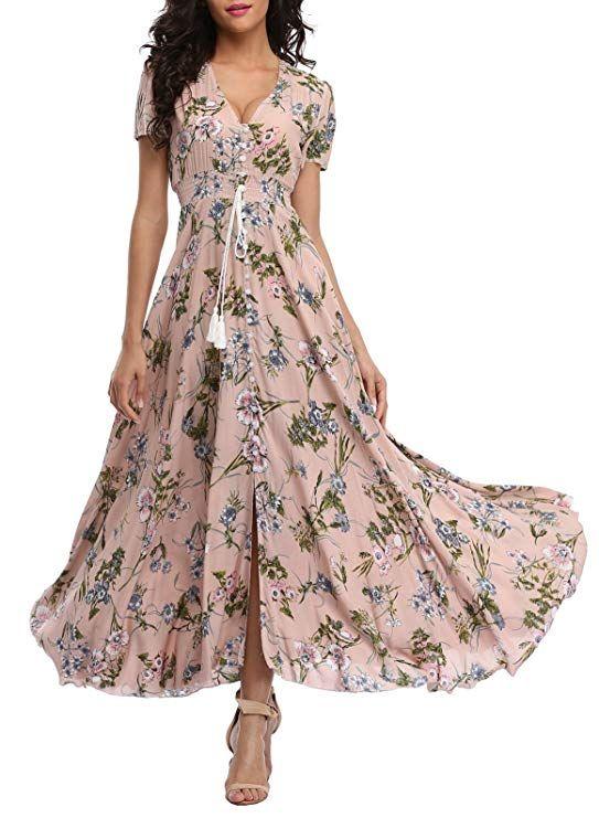 84f57b0e0ba8f VintageClothing Women's Floral Maxi Dresses Boho Button Up Split ...