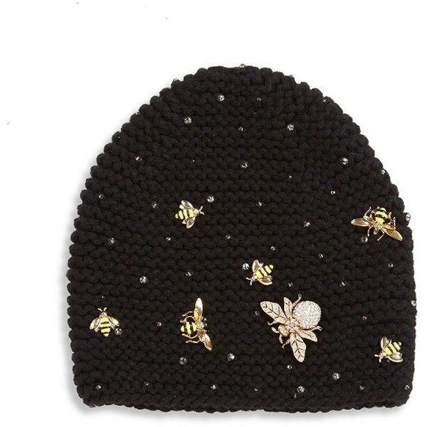Jennifer Behr Swarovski Crystal Wasp Cashmere Beanie (9,825 GTQ) ❤ liked on Polyvore featuring accessories, hats, apparel & accessories, black, cashmere beanie hats, cashmere beanie, beanie cap hat, cashmere hat and beanie cap