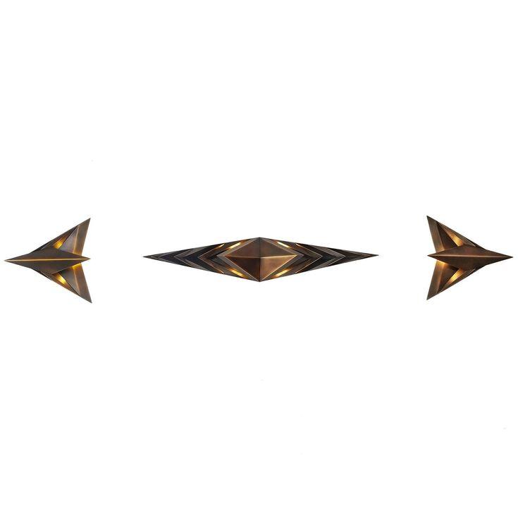 Contemporary Bronze Wall Sconce Trio, Parenthetical Light, Force/Collide, 2016