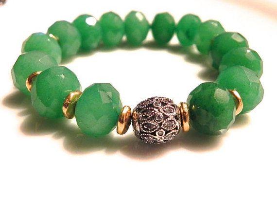 Green Onyx Bracelet/ Sterling CZ Bead/ by LaurenBlakeCreations, $60.00
