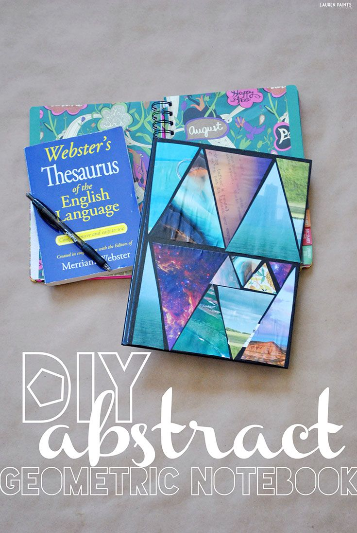 Diy Composition Book Cover ~ Diy abstract geometric triangle composition notebook