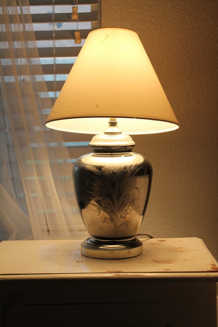 looking glass paint on thrift store lamp krylon looking glass spray. Black Bedroom Furniture Sets. Home Design Ideas