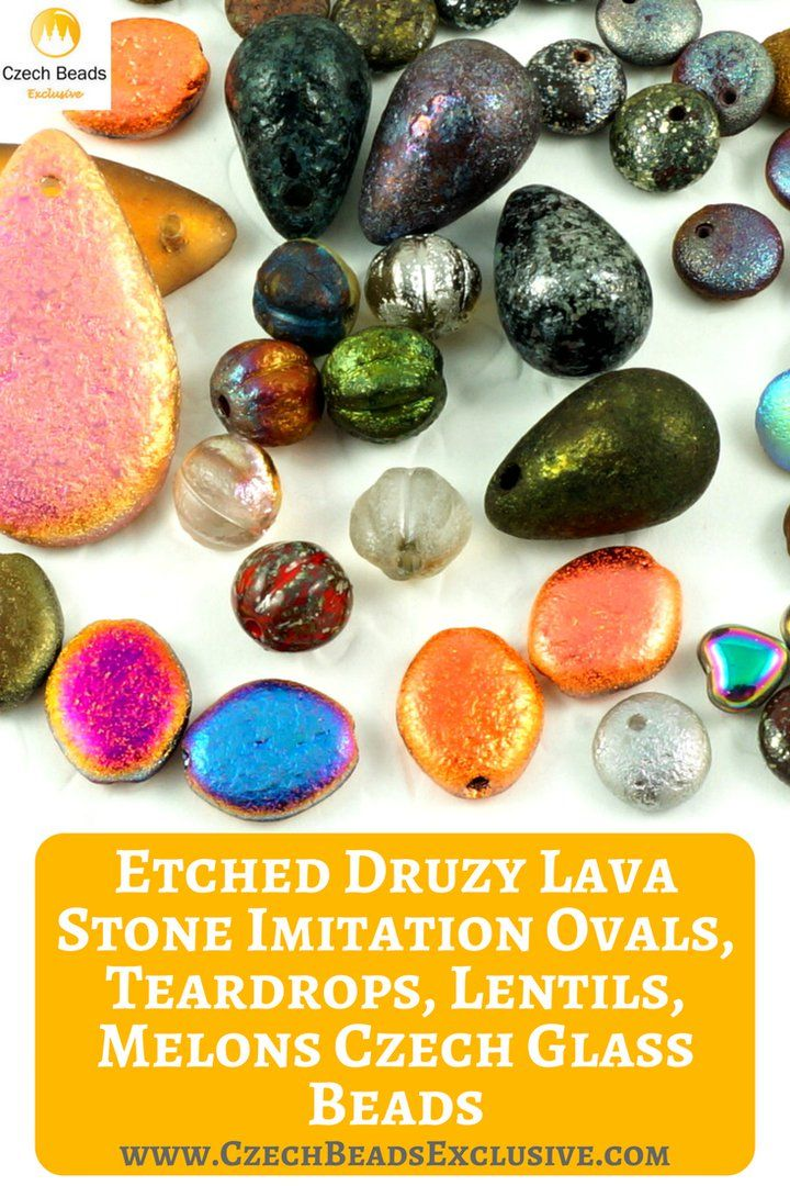 Czech Glass Etched Druzy Lava Stone Imitation Ovals, Teardrops, Lentils, Melons Beads  New addition to our most popular etched collection� - druzy - lava stone imitation beads! - Buy now with discount! www.CzechBeadsExclusive.com/+etched  Hurry up - sold out very fast! SAVE them! #czechbeadsexclusive #czechbeads