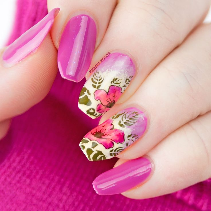 Pink Floral Nails by Kimett Kolor