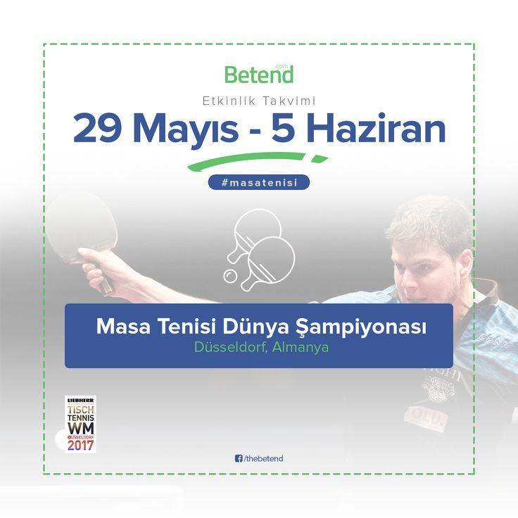 Dünya Masa Tenisi Şampiyonası 29 Mayıs – 5 Haziran tarihleri arasında Almanya'nın Düsseldorf kentinde bugün başlayacak olan Dünya Masa Tenisi Şampiyonası'na ülkemizden erkeklerde 4 bayanlarda 2 sporcu ile katılıyoruz. Toplamda 36 ülkenin katılım gösterdiği şampiyonada erkeklerde 325 bayanlarda ise 260 sporcu madalya için mücadele edecek. Diğer spor dallarında olduğu gibi #MasaTenisi severler için #Enyüksekbahisoranları #Betend'de sizlerle. http://betend800.com