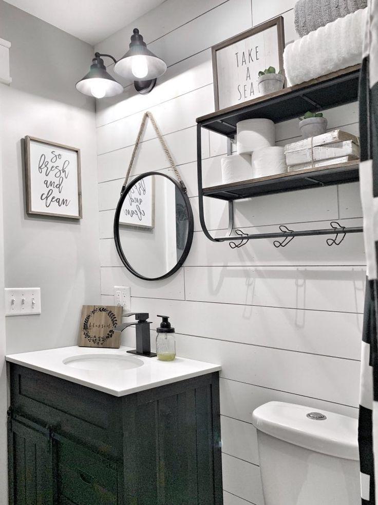 Farmhouse Bathroom Style Decor Black And White Shiplap Bathroom Style Bathroom Decorating Styles Shiplap Bathroom